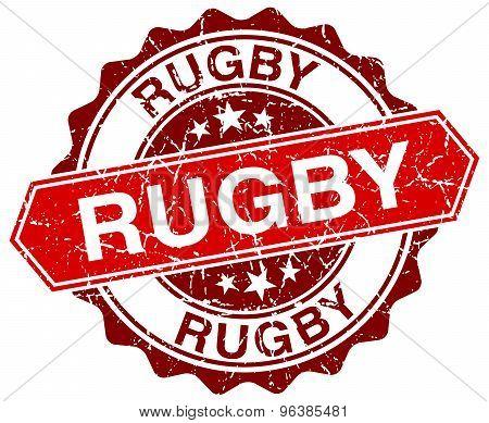 Rugby Red Round Grunge Stamp On White