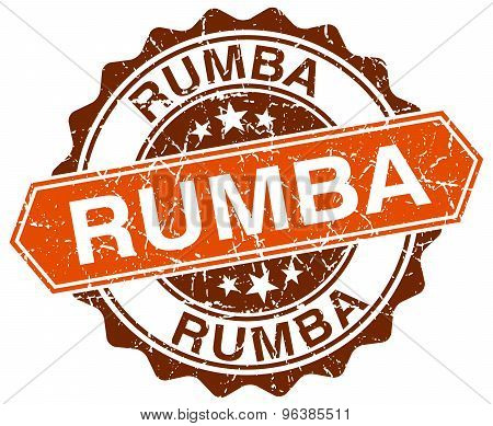 Rumba Orange Round Grunge Stamp On White