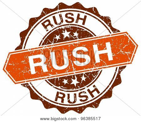 Rush Orange Round Grunge Stamp On White