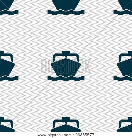 The Boat Icon Sign. Seamless Pattern With Geometric Texture. Vector