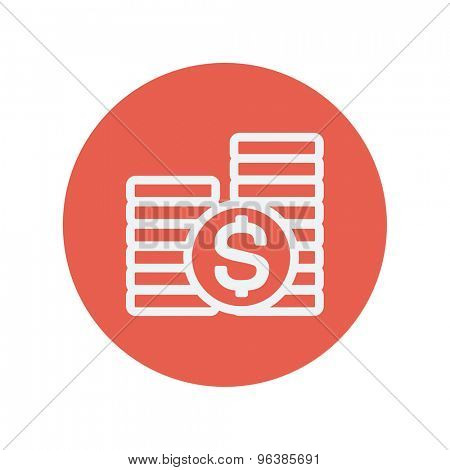 Stack of dollar coin thin line icon for web and mobile minimalistic flat design. Vector white icon inside the red circle.