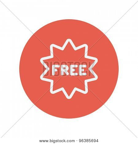 Free tag thin line icon for web and mobile minimalistic flat design. Vector white icon inside the red circle.