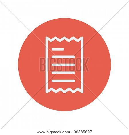 Receipt thin line icon for web and mobile minimalistic flat design. Vector white icon inside the red circle.