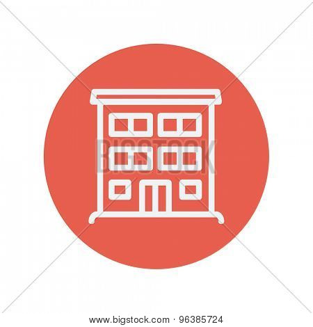 Hospital building thin line icon for web and mobile minimalistic flat design. Vector white icon inside the red circle.