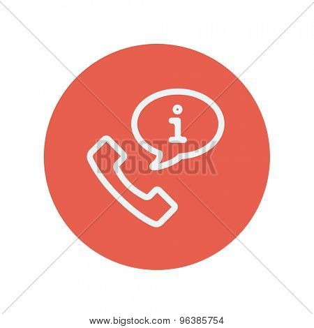 Talking by phone via internet thin line icon for web and mobile minimalistic flat design. Vector white icon inside the red circle.