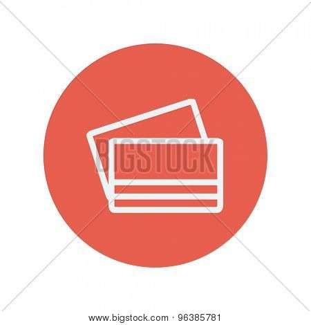 Credit card thin line icon for web and mobile minimalistic flat design. Vector white icon inside the red circle.