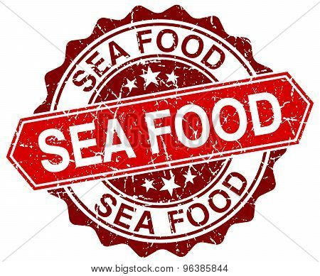 Sea Food Red Round Grunge Stamp On White