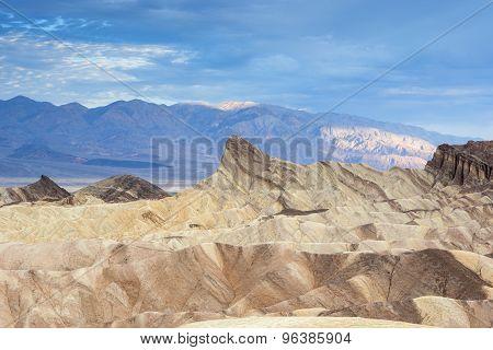 Fanciful Designs Of Zabrislie Point Amargosa Mountain Range In Death Valley In California
