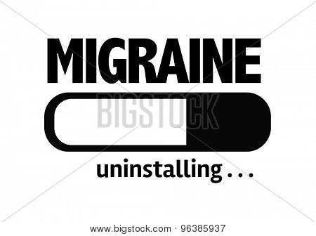 Progress Bar Uninstalling with the text: Migraine