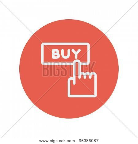 Finger pointing to buy sign thin line icon for web and mobile minimalistic flat design. Vector white icon inside the red circle.