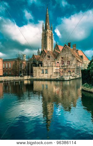 The picturesque city landscape in Bruges, Belgium