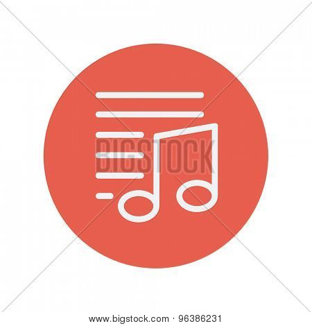 Musical note with bar lines thin line icon for web and mobile minimalistic flat design. Vector white icon inside the red circle.