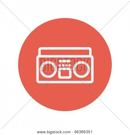 Cassette player thin line icon for web and mobile minimalistic flat design. Vector white icon inside the red circle.