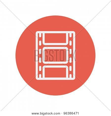 Film strip with image thin line icon for web and mobile minimalistic flat design. Vector white icon inside the red circle.