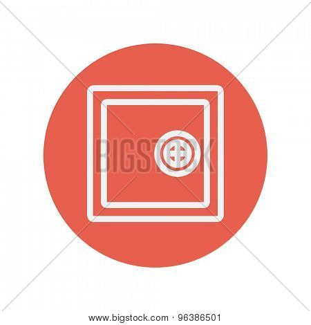 Safe, vault thin line icon for web and mobile minimalistic flat design. Vector white icon inside the red circle.