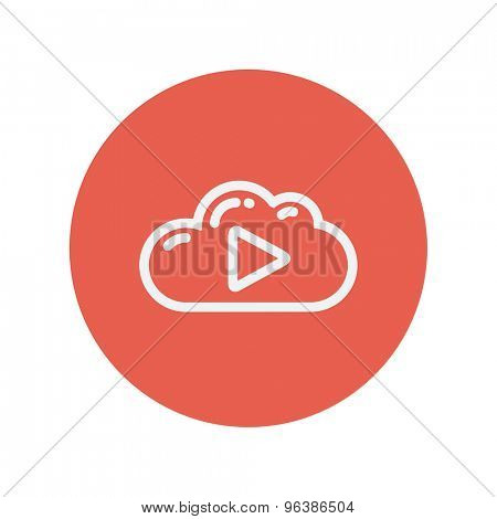 Cloud with arrow pointing to the right thin line icon for web and mobile minimalistic flat design. Vector white icon inside the red circle.