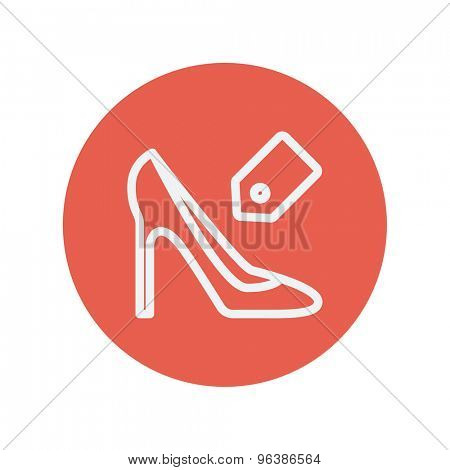 Shoe with tag thin line icon for web and mobile minimalistic flat design. Vector white icon inside the red circle.