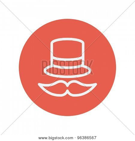 Vintage fashion hat and mustache thin line icon for web and mobile minimalistic flat design. Vector white icon inside the red circle.