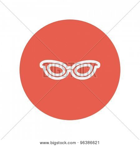 Retro cat eyeglasses thin line icon for web and mobile minimalistic flat design. Vector white icon inside the red circle.