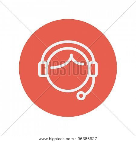 Customer service thin line icon for web and mobile minimalistic flat design. Vector white icon inside the red circle.