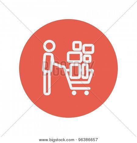 Shopping cart full of shopping bags  thin line icon for web and mobile minimalistic flat design. Vector white icon inside the red circle.