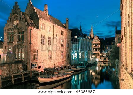 Picturesque night canal Dijver in Bruges