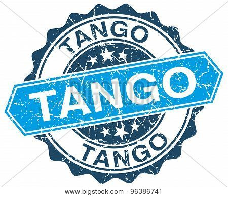 Tango Blue Round Grunge Stamp On White
