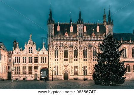 Picturesque Christmas Burg Square in Bruges