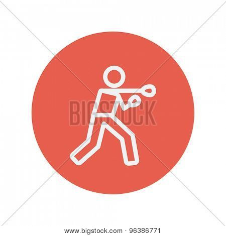 Boxing man with punch thin line icon for web and mobile minimalistic flat design. Vector white icon inside the red circle.