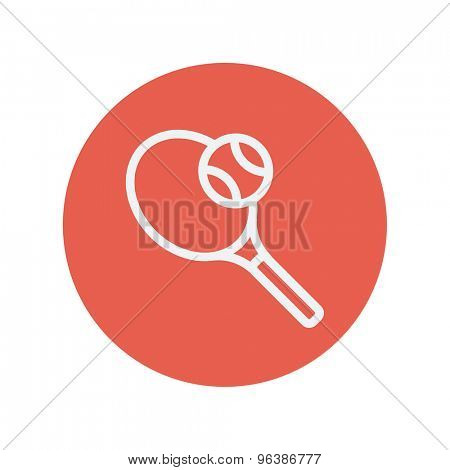 Tennis racket with ball thin line icon for web and mobile minimalistic flat design. Vector white icon inside the red circle.
