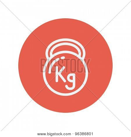 Kettlebell thin line icon for web and mobile minimalistic flat design. Vector white icon inside the red circle.