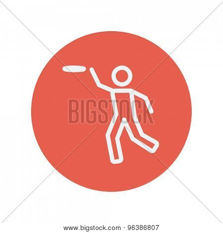 Man catching a flying disc thin line icon for web and mobile minimalistic flat design. Vector white icon inside the red circle.
