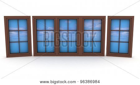 Closed plastic windows with blue sky and clouds. 3d illustration on white background