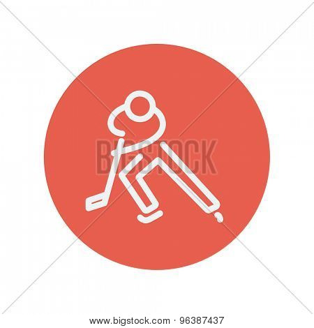 Moving hockey player thin line icon for web and mobile minimalistic flat design. Vector white icon inside the red circle.