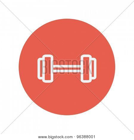 Dumbell thin line icon for web and mobile minimalistic flat design. Vector white icon inside the red circle.