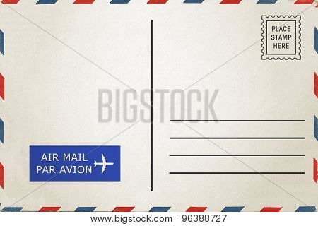 Airmail back side blank postcard.
