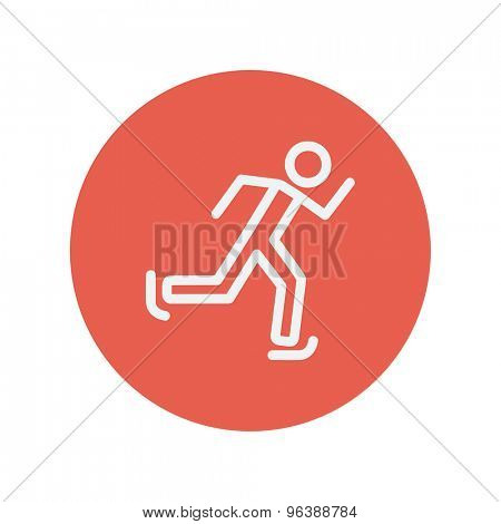 Skating man thin line icon for web and mobile minimalistic flat design. Vector white icon inside the red circle.