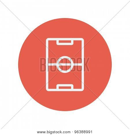 Soccer field thin line icon for web and mobile minimalistic flat design. Vector white icon inside the red circle