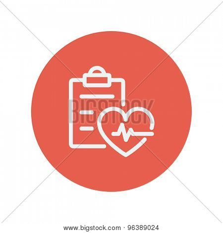 Heartbeat record thin line icon for web and mobile minimalistic flat design. Vector white icon inside the red circle