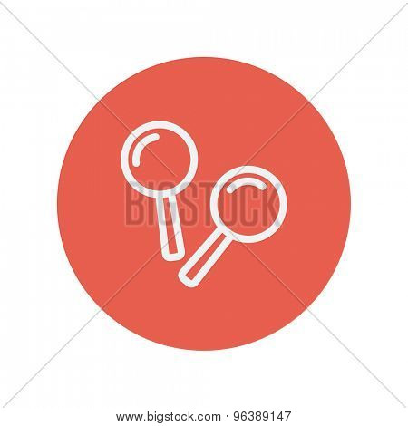 Maracas thin line icon for web and mobile minimalistic flat design. Vector white icon inside the red circle