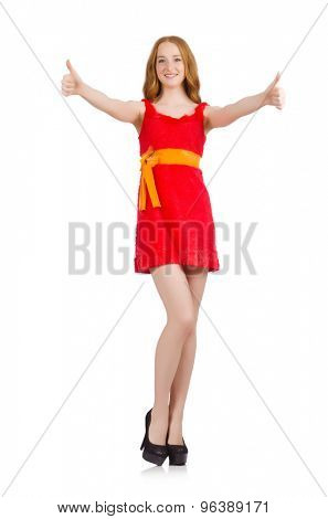 Young cheerful girl thunms up isolated on white