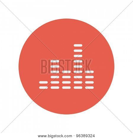 Digital equalizer thin line icon for web and mobile minimalistic flat design. Vector white icon inside the red circle