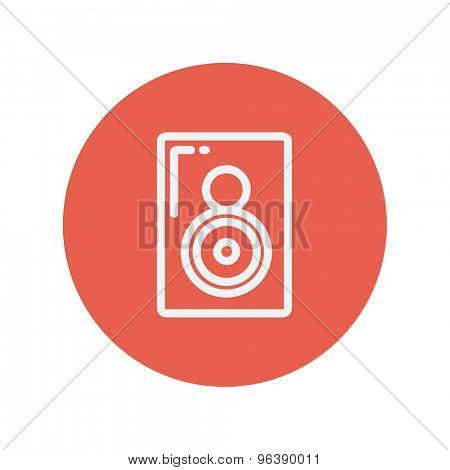 Two way audio speaker thin line icon for web and mobile minimalistic flat design. Vector white icon inside the red circle