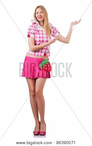 Young nice girl in pink holding isolated on white