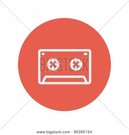 Cassette tape thin line icon for web and mobile minimalistic flat design. Vector white icon inside the red circle