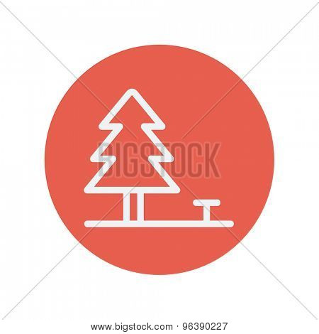 Pine tree thin line icon for web and mobile minimalistic flat design. Vector white icon inside the red circle