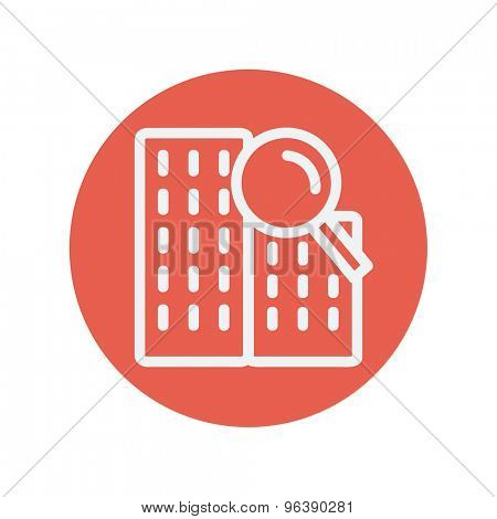 Search building thin line icon for web and mobile minimalistic flat design. Vector white icon inside the red circle