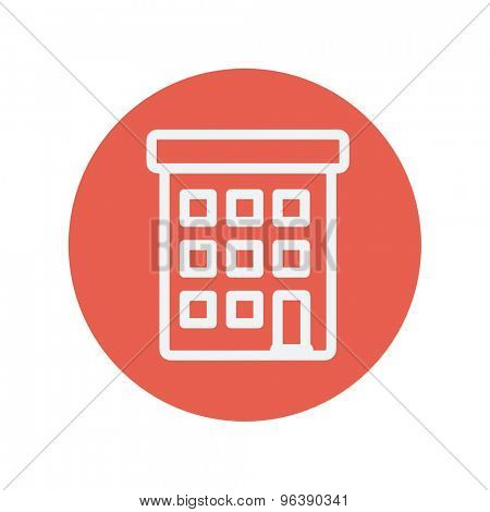 Condominium building thin line icon for web and mobile minimalistic flat design. Vector white icon inside the red circle