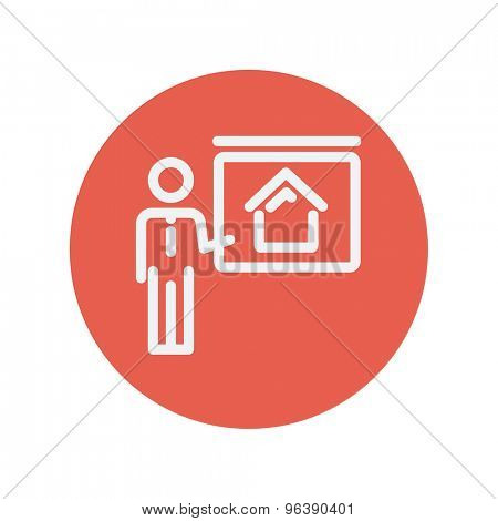 Real estate training thin line icon for web and mobile minimalistic flat design. Vector white icon inside the red circle