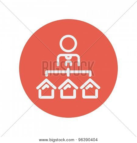 Agent with three houses for sale thin line icon for web and mobile minimalistic flat design. Vector white icon inside the red circle
